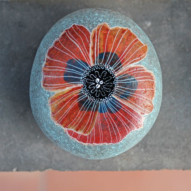 #painted rocks, Lilly's Papillon: Stone Painting