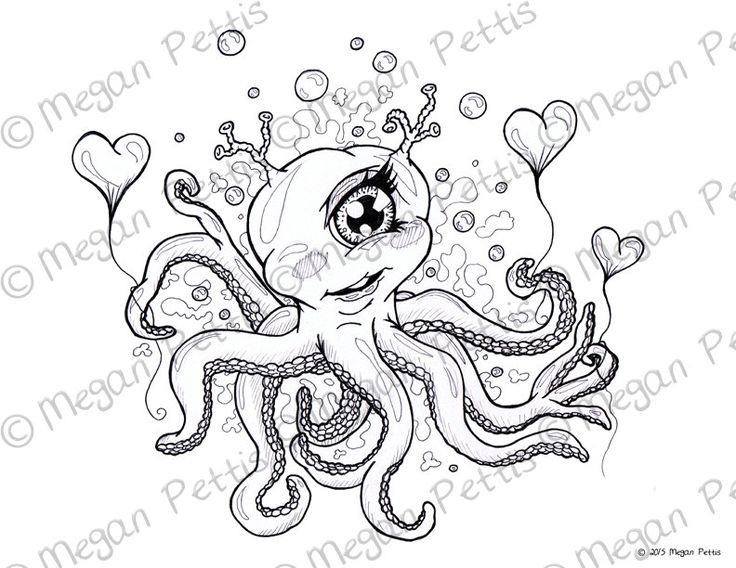 Cycloptopus Coloring Book Page, Adult Coloring, Cyclops Octopus, Tentacles,  Digital File,