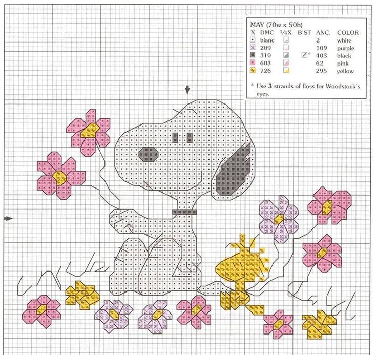 Snoopy & Woodstock with flowers cross stitch pattern