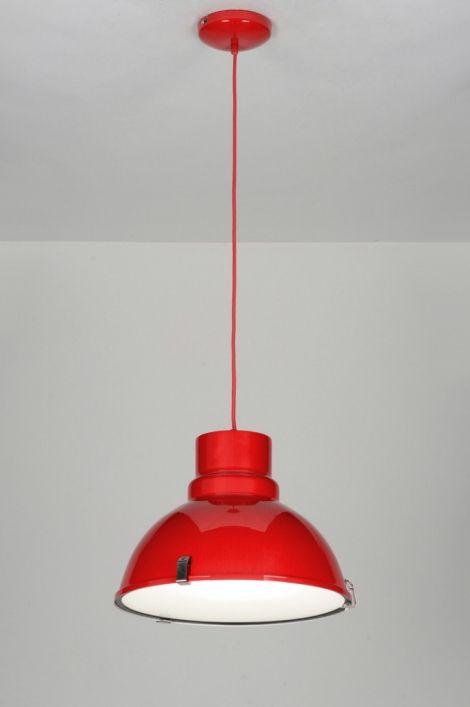 hanglamp 71719: modern, industrie, look, aluminium, glas, mat glas, metaal, rood, rond ...