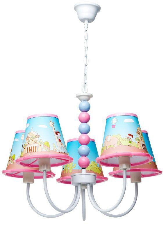 Lustre enfants motifs voyage 5 éclairages
