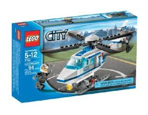 """LEGO City Police Helicopter 7741 by LEGO City. $10.99. One police pilot minifigure included. Includes simple small tools, camera and rotating rotors as two LEGO build functions. Patrol and protect LEGO® City from the air! Watch for trouble in this police helicopter. Copter blades really rotate and the helicopter is over 7"""" (18 cm). Includes 94 pieces. From the Manufacturer                LEGO® City Police Helicopter (7741)                                    Product Descript..."""