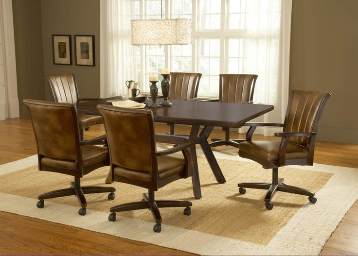 Hillsdale Grand Bay Cherry 7 Piece Rectangular Dining Set With Caster Chairs
