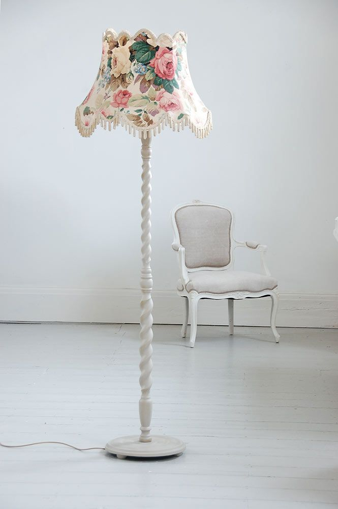 Standard lamp and cabbage roses lamp shade @ Decorative Living