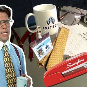 Bill Lumbergh Office Space Initech Halloween Costume. Mike Judge cult classic movie. Red Swingline Stapler, TPS Report