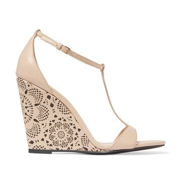 On SALE at 60% OFF! laser-cut leather wedge sandals by Burberry. Italian sizing Wedge heel measures approximately 110mm/ 4.5 inches . Beige leather . Buckle -fastening ankle strap . ...