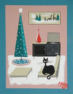 EL GATO GOMEZ PAINTING MID CENTURY MODERN CHRISTMAS HOLIDAY CAT EAMES 1950S HOME in Art, Art from Dealers & Resellers, Paintings | eBay