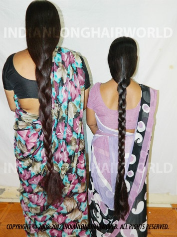 Long Hair Model of the Month December 2012. Sangita & Santu with  her long, healthy & thick knee length hair in thick braids