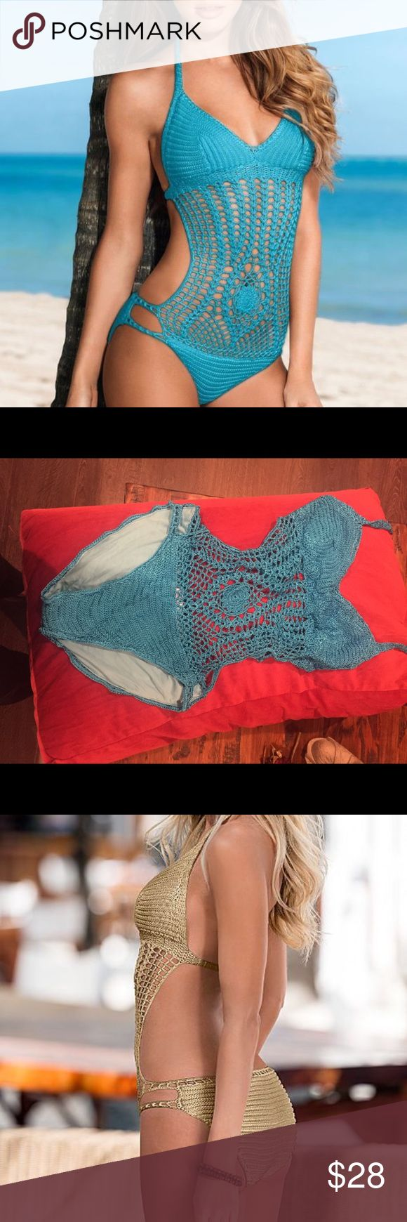 Crochet bathing suit. Cute and brand new turquoise crochet one piece bathing suit. Super cute! VENUS Swim One Pieces