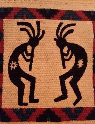 "Kokopelli Tapestry Decorative Small Mat Wall Hanging Coaster 6.5"" x 6"""