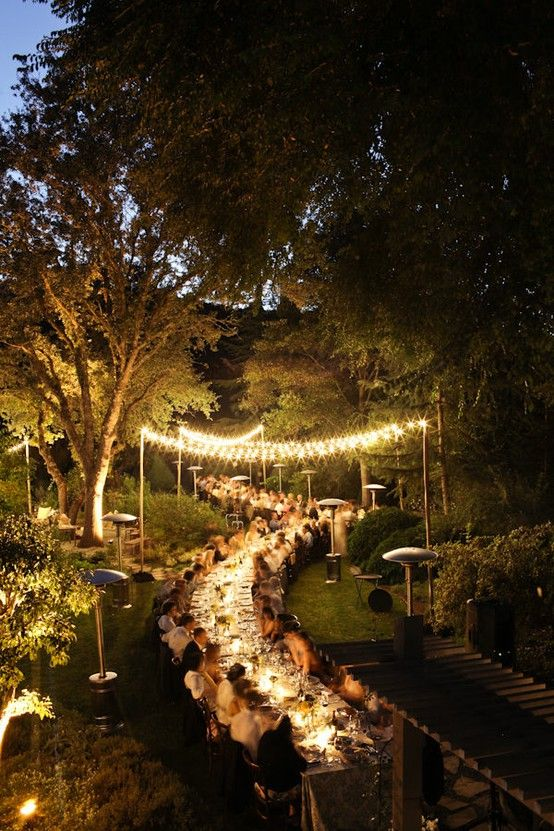 love the lighting and long table