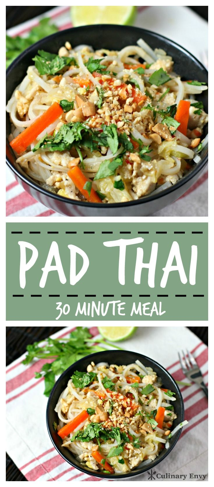 Homemade Pad Thai made with rice noodles, ground chicken, crisp vegetables and crunchy peanuts in a savory-sweet sauce are Easy and Delicious! Click to read more or Pin & Save for later!