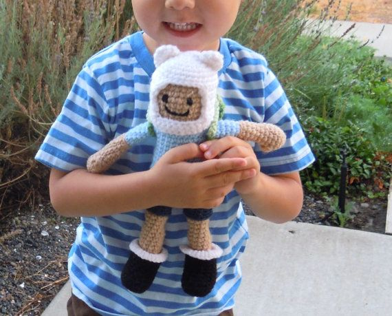 Finn the Human Adventure Time Amigurumi Doll by CrochetedCuddle, $4.00