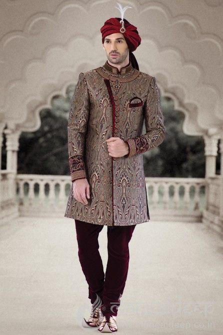 Mangaldeep Maroon EmbroideryIndowestern Sherwani