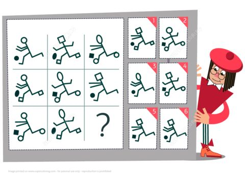 Find the Missing Football Player Visual Brain Teaser from Visual logic puzzles.   Jucarii pentru copii chiar in Romania:  http://znuky.ro/jucarii-copii