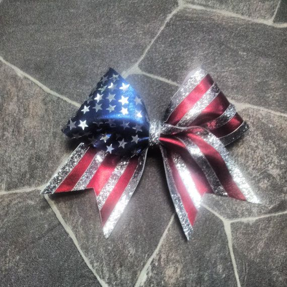 Stars and Stripes Cheer Bow on Etsy, $20.08
