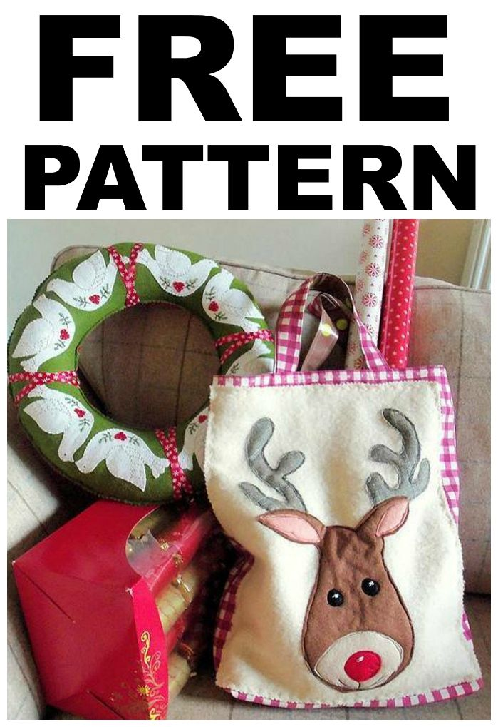 Free Reindeer Tote Bag Sewing Pattern A Good Sized Sturdy Tote