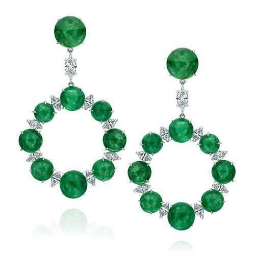 Nina Runsdorf Emerald and Diamond Earrings