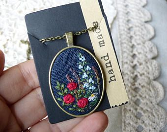 Items similar to Gold Roses necklace, Hand embroidered pendant, Gift for her, luxury Needlework Jewelry, Embroidered Pendant, Retro jewelry, Victorian style on Etsy