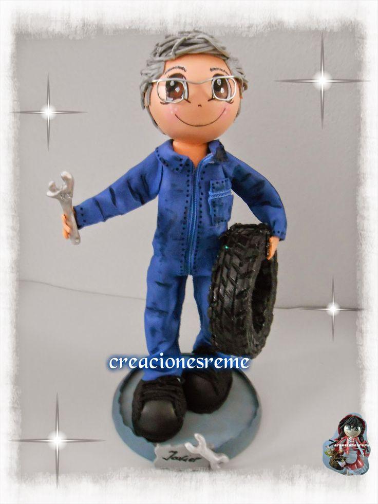 Muñequitas de goma eva Creacionesreme: Muñequito personalizado ,mecánico,Javier Fofucho mecanico,rueda de goma eva ,fofucho con llave inglesa #fofuchas #fofuchomecanico