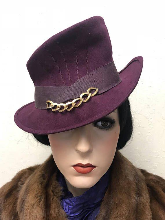 aa2e1a33 1940s Vintage Hat Purple Tilt with Chain Steampunk Size 22   Vintage ...
