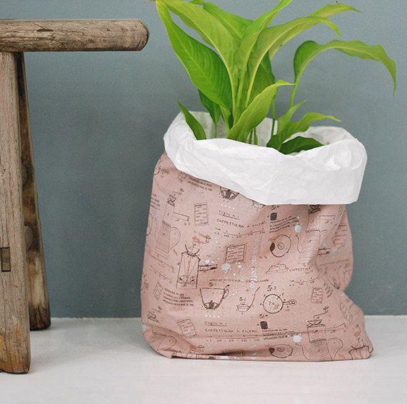 Wasbaar Kraft papieren zak / wasbaar papier mand / Plant houders / keuken manden / papier tassen / papieren manden / wasbaar papieren zakken [roze]