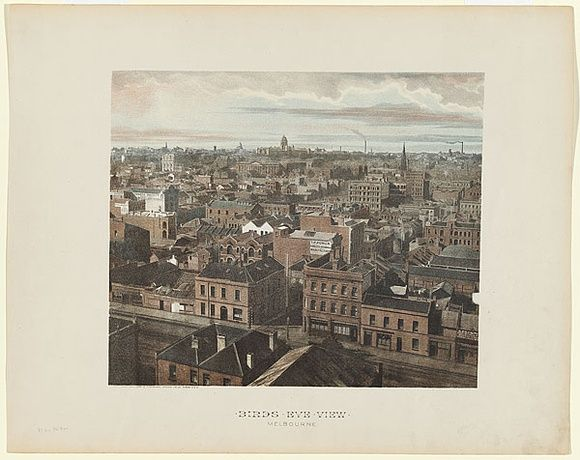 Artist: PHILLIP-STEPHAN PHOTO-LITHO. AND TYPOGRAPHIC PROCESS CO LTD | Title: Birds eye view, Melbourne. | Date: 1888 | Technique: photo-lithograph, printed in colour, from multiple stones