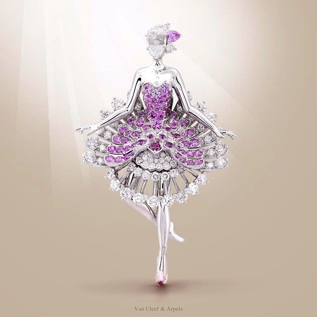 Looks more like art to me...  Van Cleef & Arpels Ballerina Clip - white gold, round diamonds, one rose-cut diamond, round and pear-shaped pink sapphires - unveiled during @MasterpieceLondon Fair  #MPL2015 #MasterpieceWeek