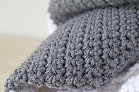 Extra Large Chunky Crochet Blanket- so easy! All single crochet.