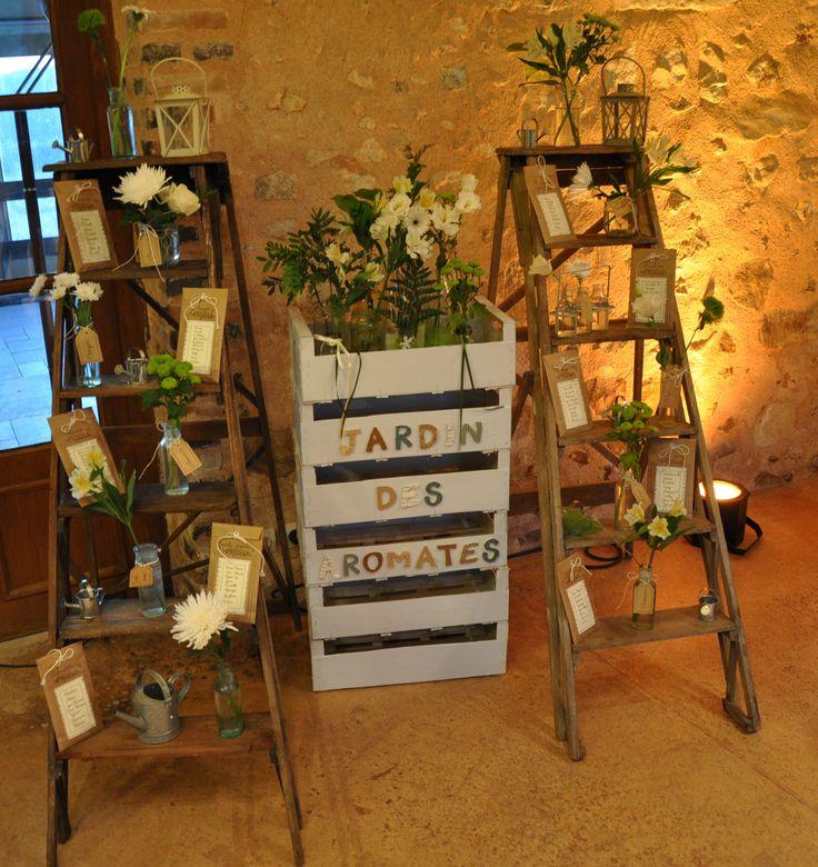 escabeau plan de table mariage chaque table a un nom d'aromate les noms des invités sont écrits sur les sachets de graines