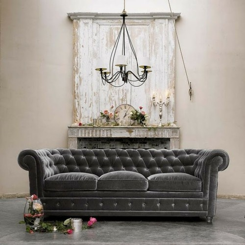 Lord Above! A Grey Velvet Tufted Sofa - send it to me now!