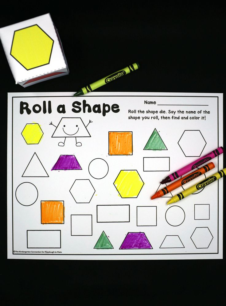 Activity for ages 3 to 5. We love learning games that let us roll diceand we love to color. This roll and color shapes game is the best of both worlds!Themotivating 2d shape game is perfect for preschoolers and early kindergarteners who need to build confidence in recognizing and naming their shapes. It is sure …