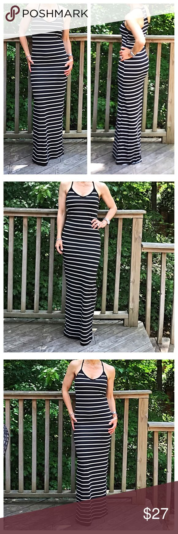🆕 striped tank maxi dress Black with white stripes tank maxi dress this dress has spandex PLEASE Use the Poshmark new option you can purchase and it will give you the option to pick the size you want ( all sizes are available) BUNDLE and save 10% ( no trades price is firm unless bundled) Dresses Maxi