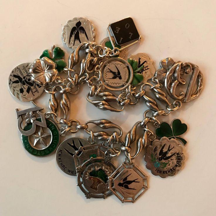 Vintage Art Nouveau & Deco Silver Enamel Lucky Charms Bracelet. Shamrocks, Birds, Clovers, 13, Star, Chimney Sweep, Forget-Me-Not. Austrian.