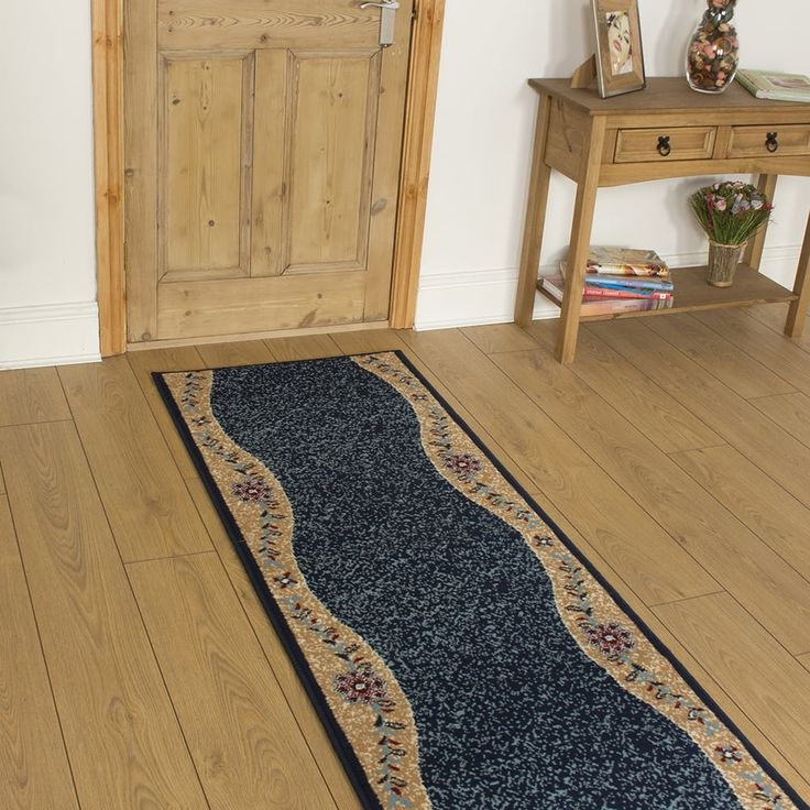 Blue Hallway Carpet Runner Wave