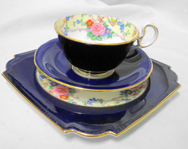 AYNSLEY ART DECO COBALT BLUE ROSE TEA CUP AND SAUCER TRIO #AYNSLEYCHINAENGLAND