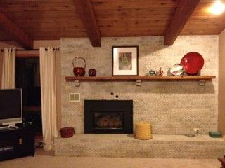 Off Center Fireplace W Mantel