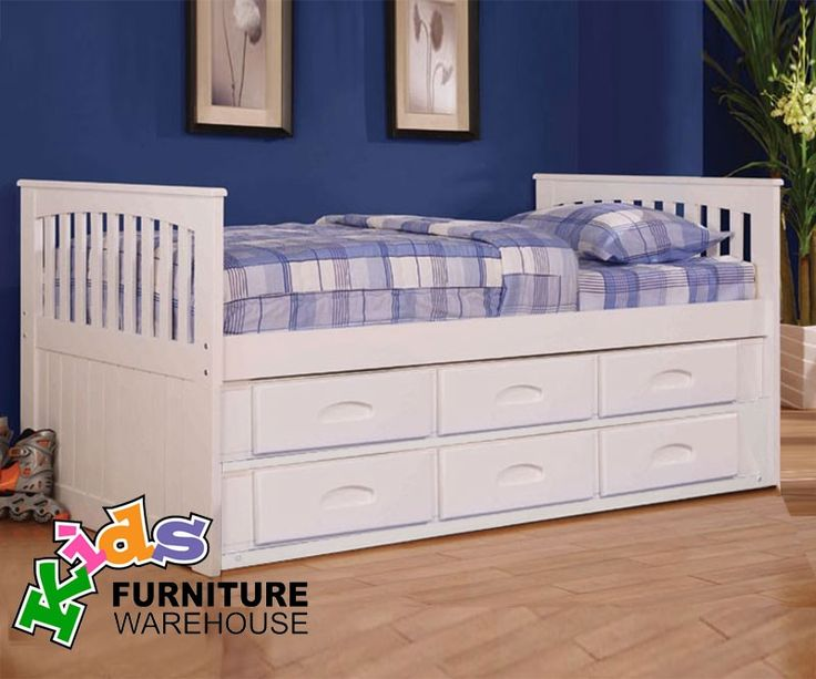 Kids Furniture Twin Size Captains Bed In White By