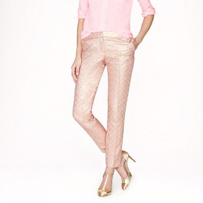 Shiny Peach Pants with Gold Heels