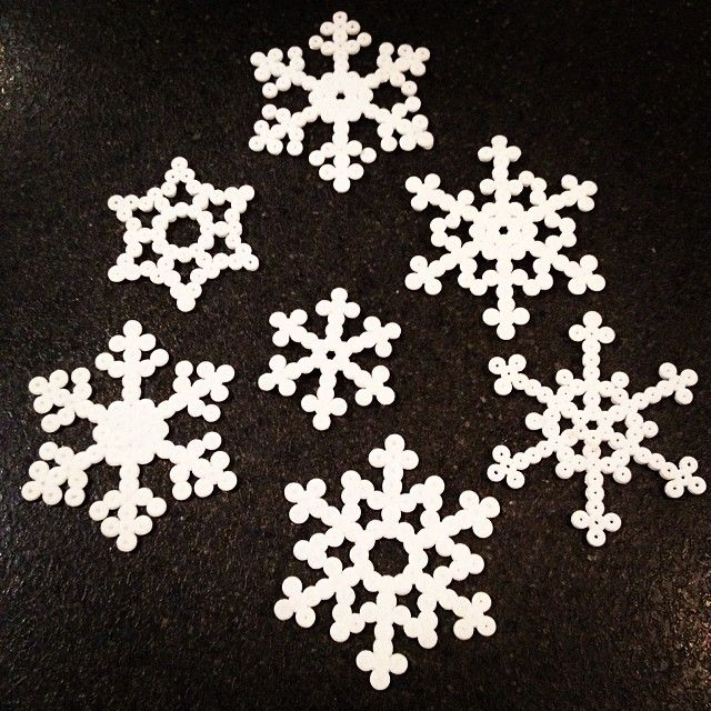 Snowflakes hama beads by annikabrolund