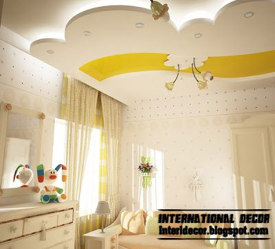 creative false ceiling design with backlight for kids room, suspended ceiling of plasterboard
