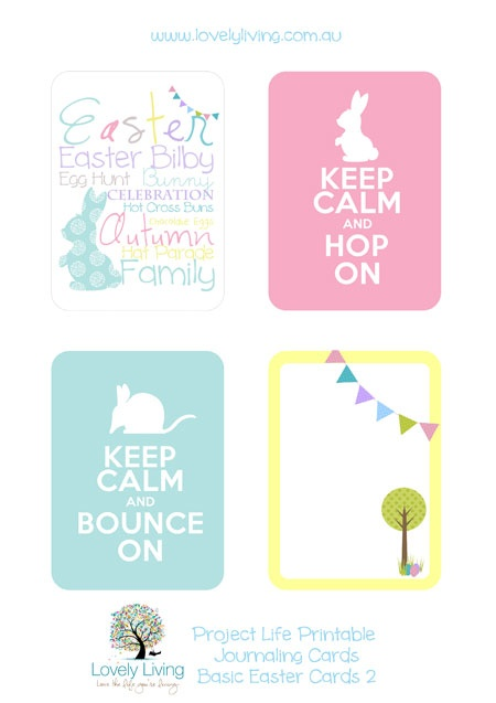Free Easter printables for Project Life