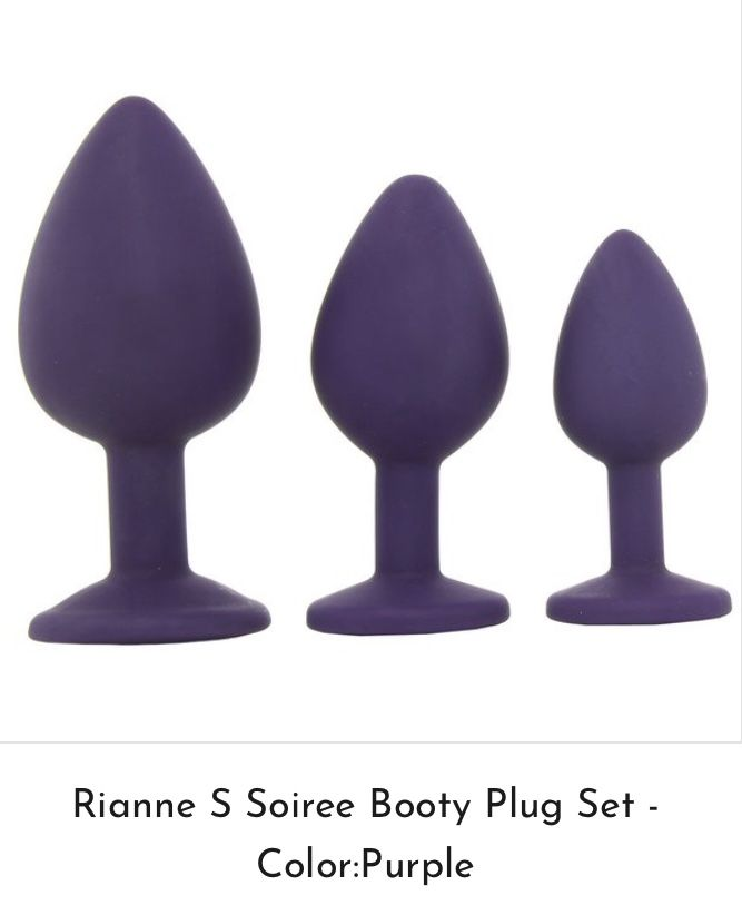 """Rianne S Soirée Booty Plug Set  Focused purely on pleasure for all levels of anal play, the Soiree Booty Plug Set features three silky plugs varying in size from tiny to filling. Jeweled end at base. Warms naturally to body heat. Beginners can start with the smallest (3.5""""), work your way to medium (4.5""""), and largest(5.25"""") #booty#sextoys#buttplugs#hot"""