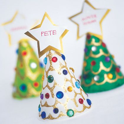 Christmas Dinner Place Markers..Using White Snowcone /Cone holders...any restaurant supply, I'm guessing.GREAT WAY FOR CHILDREN to Participate in doing something to Help with Holiday Meal..They will be SO PROUD!!