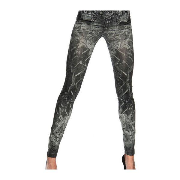 Rotita Elastic Waist Printed Black Ankle Length Leggings ($12) ❤ liked on Polyvore