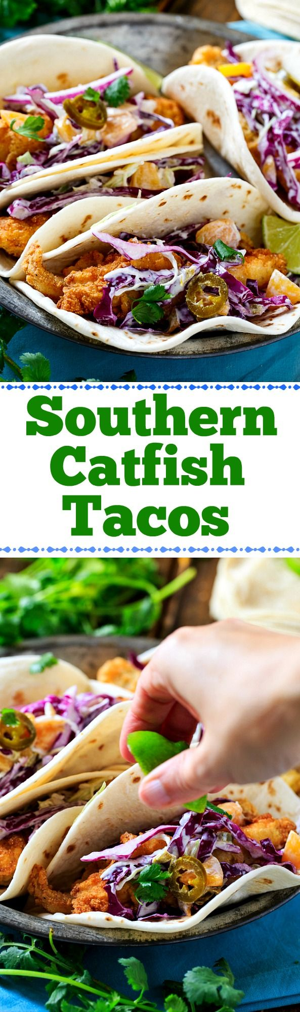 Southern Catfish Tacos with Peach-Jalapeno Coleslaw