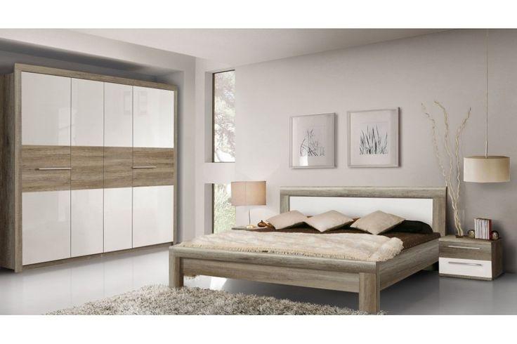 Schlafzimmer Rosanna 4tlg. zeitlos schicke Eiche Antik in Kombination mit weissem Hochglanz Zimmer bestehend aus: 1 x Kleiderschrank mit 3 Türen 1 Spiegel auf der Innenseite der Türe 1...