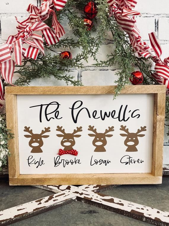 Reindeer Family Sign Christmas Sign Personalized Sign Gift Etsy In 2020 Christmas Signs Wood Christmas Signs Diy Family Christmas Gifts