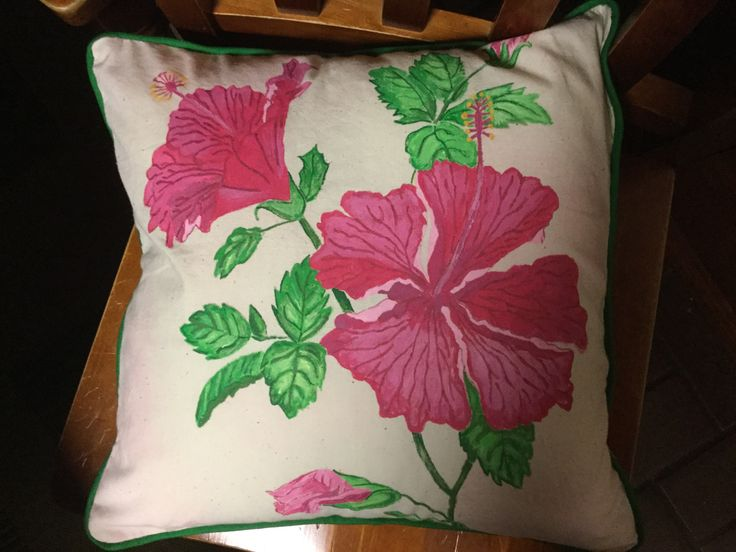 Hand painted and made hibiscus cushion I recently finished.