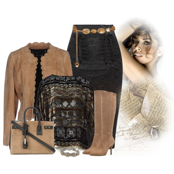 Wear it in long boots by lorrainekeenan on Polyvore featuring Etro, Barbara Bui, Dolce&Gabbana, Nine West, Yves Saint Laurent, Konstantino and Chanel